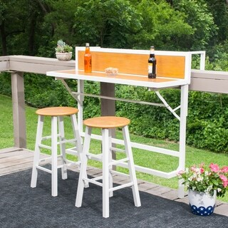 Harper Blvd Meade Balcony Bar/Bistro 3pc Set - White w/ Faux Oak