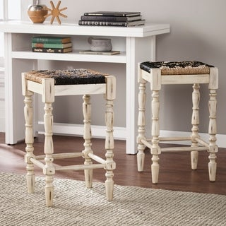 "Harper Blvd Sunterra Square Backless Seagrass 24"" Stools 2pc Set - Distressed White"