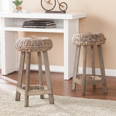 The Curated Nomad Belize Grey Washed Wicker Counter Stool (Set of 2)