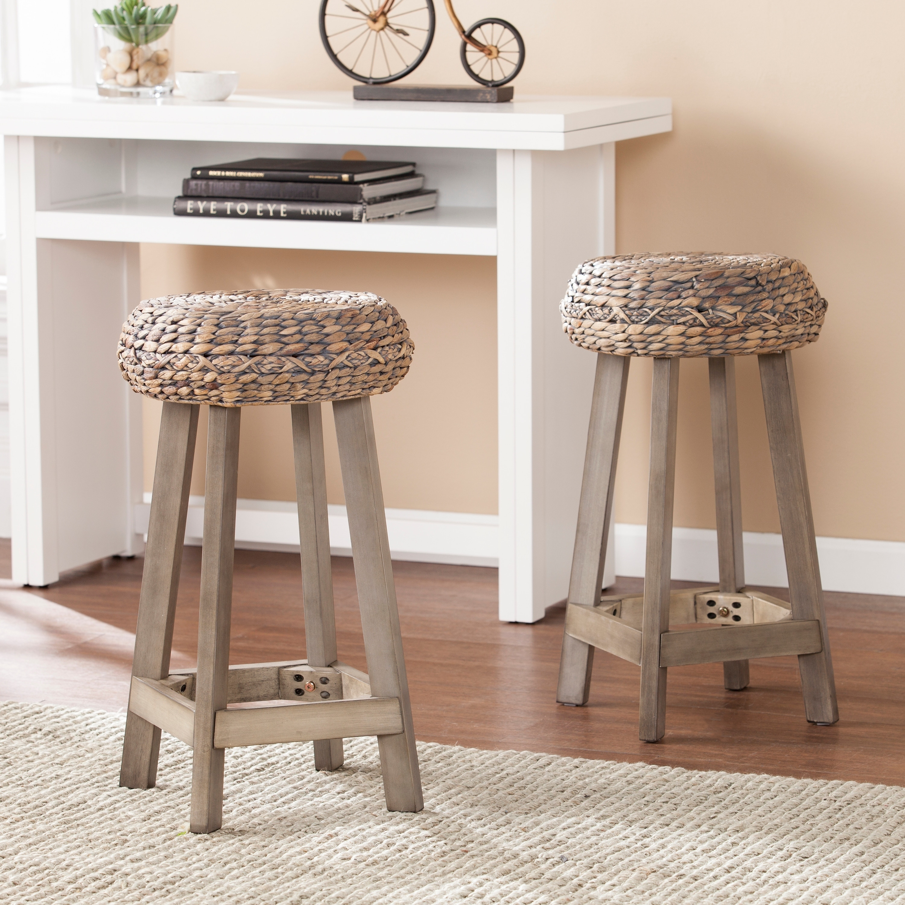 Shop Harper Blvd Roxella Backless Round Water Hyacinth 24 Stools