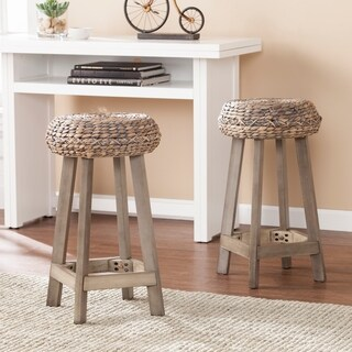 The Curated Nomad Belize Backless Round Weathered Grey Counter Stool (Set of 2)