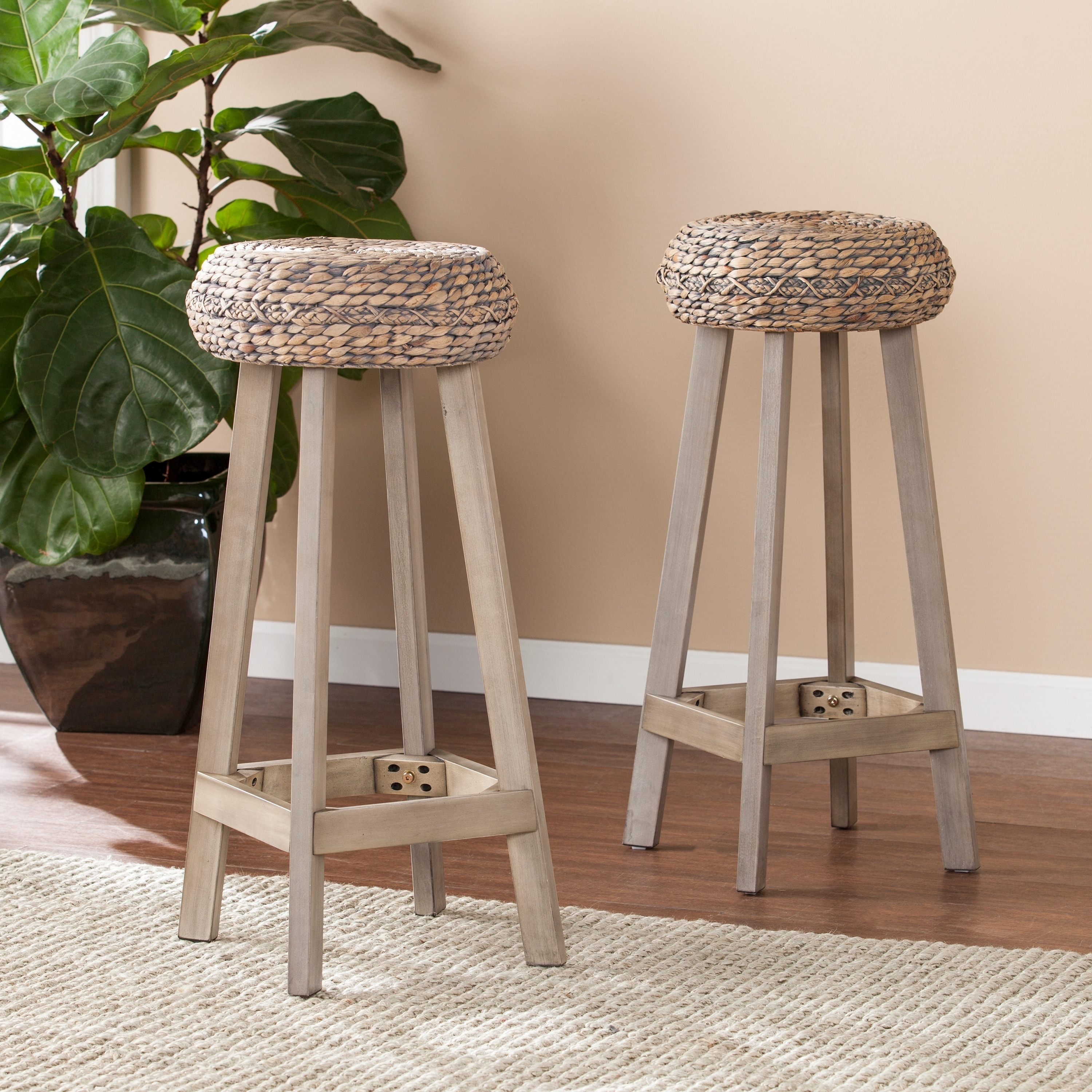 Remarkable The Curated Nomad Belize Backless Round Weathered Grey Barstool Set Of 2 Ncnpc Chair Design For Home Ncnpcorg