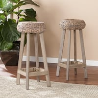 The Curated Nomad Belize Backless Round Weathered Grey Barstool (Set of 2)