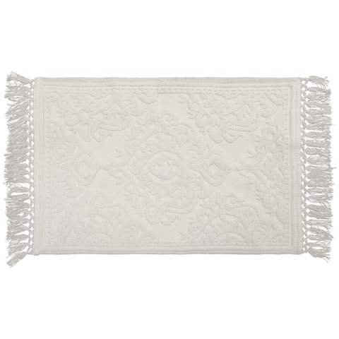 Jean Pierre Ricardo Cotton Fringe 27 x 45 in. Bath Rug