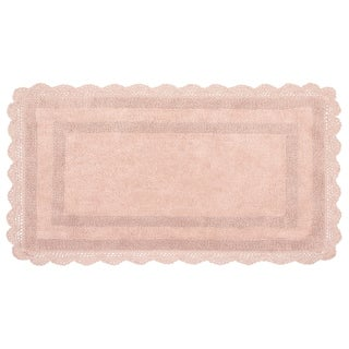 Laura Ashley Reversible Cotton Crochet 24 x 40 in. Bath Rug