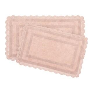 Laura Ashley Reversible Cotton Crochet 2-Piece Bath Rug Set