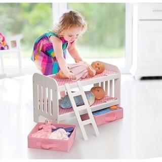 Badger Basket Doll Bunk Bed with Ladder and Two Storage Baskets - Pink/Polka Dot