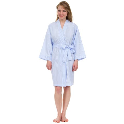 Leisureland Women's Classic Stripe Seersucker Short Robes