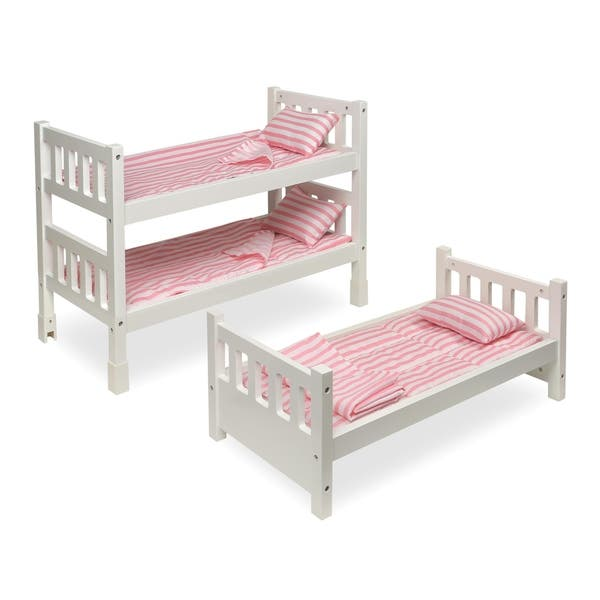 Badger Basket 1 2 3 Convertible Doll Bunk Bed With Bedding Pink Stripe Overstock 17769775