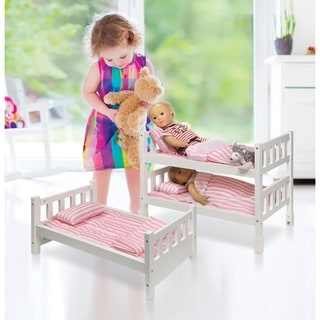 Badger Basket 1-2-3 Convertible Doll Bunk Bed with Bedding - Pink/Stripe