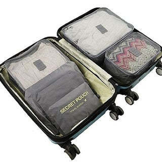 Bentevi 6pc Traveling Packing Cubes System, with a Free cosmetic bag compartment, Luggage Organizer pouch.