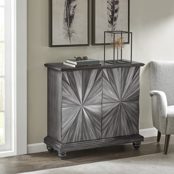Madison Park Petaluma Black-pewter-and-silver-finished Wood and Metal 2-door Cabinet