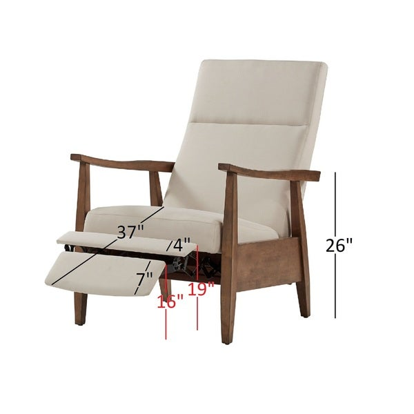 mid century wood arm recliner inspire modern with ottoman vintage