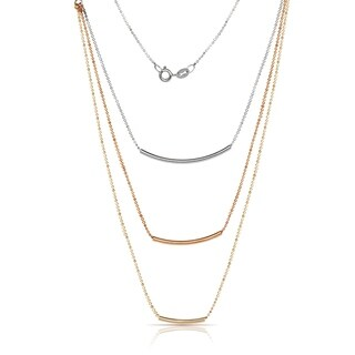 Italian Sterling Silver 16-inch Trendy Three Tier Layered Bar and Bead Necklace (rhodium or tri-color)