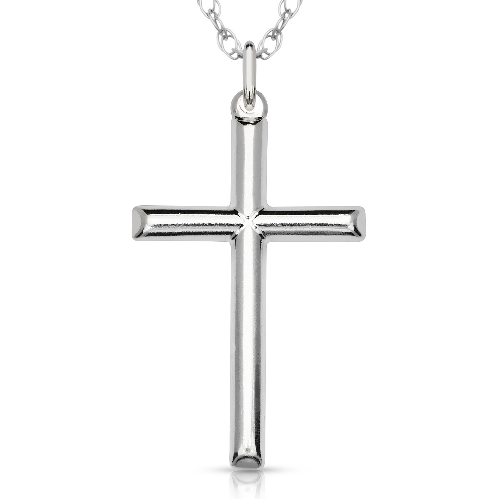 Vintage Silver Rhinestone Cross Necklace Pendant 16 Inch Sterling Chain