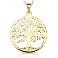 Sterling Silver 16-inch Elegant Tree of Life Round Polished Pendant Necklace  (sterling silver or gold plated)