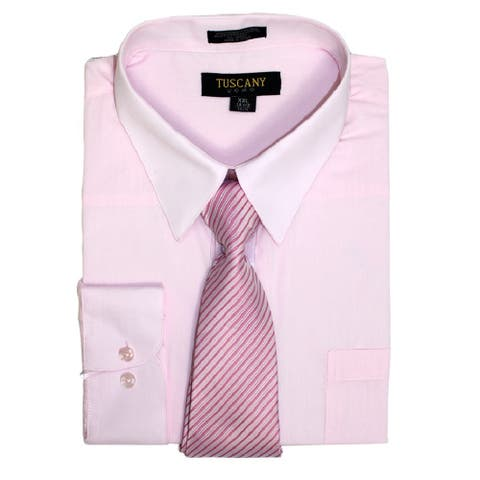 Men's Regular-Fit Solid Long Sleeve OLIVE Dress Shirt with Mystery Tie Set-All Sizes (Light Pink)