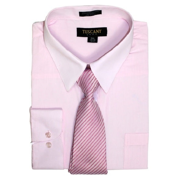 Mens Regular-Fit Solid Long Sleeve OLIVE Dress Shirt with Mystery Tie Set-All Sizes (Light Pink)