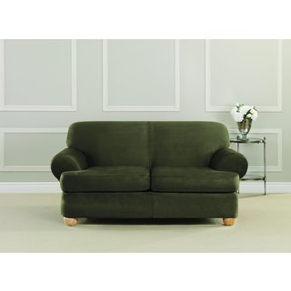 Sure Fit Ultimate Heavyweight Stretch Suede T-Cushion Sofa Slipcover