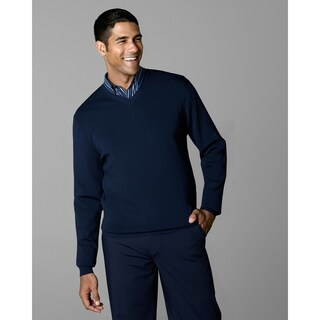 Twin Hill Mens Sweater Navy Rayon/Nylon V-Neck