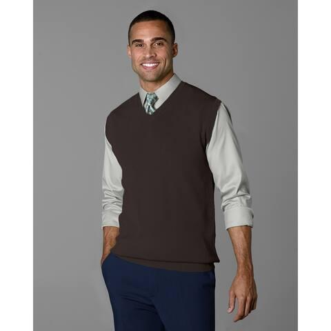 Twin Hill Mens Sweater Chocolate Rayon/Nylon V-Neck