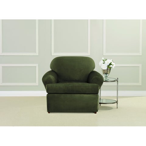 Sure Fit Ultimate Heavyweight Stretch Suede T-Cushion Chair Slipcover