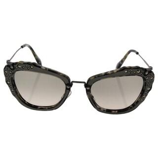 Miu Miu MU 04Q DHE-3H2 - Women's Marble White Black/Green Gradient Sunglasses