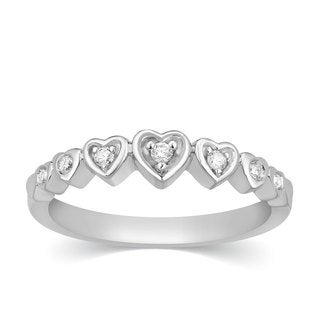 Sterling Silver Diamond Accent Hearts Stackable Ring