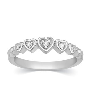 Sterling Silver Diamond Hearts Promise Ring