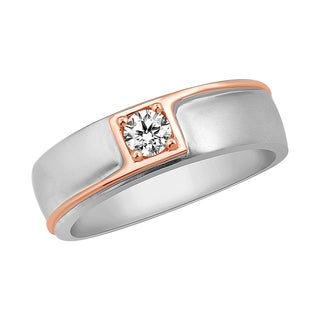 Life More Dazzling Men's Two-tone 1/4ct TDW Diamond Band