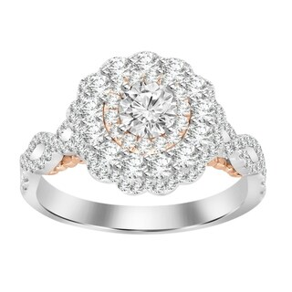 14k 1.25ct tw white gold and rose gold double halo engagement ring
