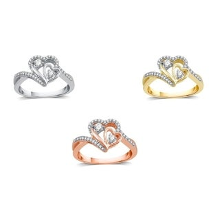 AMOUREUX 10k Gold 1/4 CTTW Diamond Dual Heart Engagement Ring (I-J, I2-I3) - White I-J