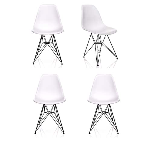 Nature Series White Wood Grain DSR Mid-Century Modern Dining Accent Side Chair with Black Eiffel Steel Leg (Set of 4)