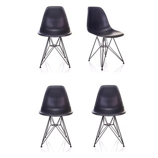 Nature Series Carbon Grey Polypropylene/Steel DSR Mid-Century Modern Eiffel-leg Accent Chair (Set of 4)