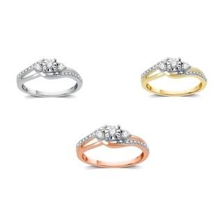 AMOUREUX 10k Gold 1/4 CTTW Diamond Bypass Three Stone Engagement Ring (I-J, I2-I3) - White I-J