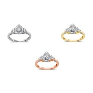 AMOUREUX 10k Gold 3/8 CTTW Diamond Fancy Pear Shape Engagement Ring (I-J, I2-I3) - White I-J