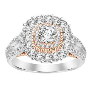 14k 1.25ct two tone gold women's engagement ring
