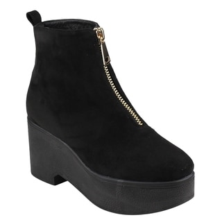 Beston EJ35 Women's Zipper Platform Wedge Ankle Booties One And Half Size Small