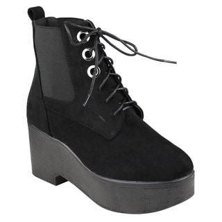 Beston EJ36 Women's Lace Up Platform Wedge Ankle Booties One And Half Size Small