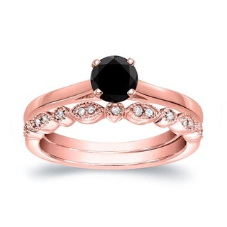Auriya 14k Gold 1/2ct TDW Vintage-Inspired Black Diamond Solitaire Engagement Ring Bridal Set