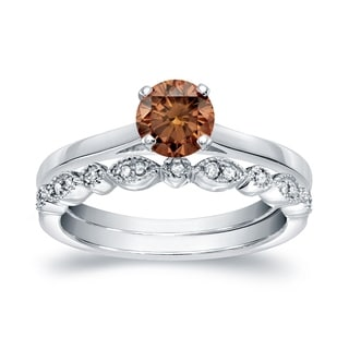 Auriya 14k Gold 5/8ct TDW Vintage-Inspired Brown Diamond Solitaire Engagement Ring Set