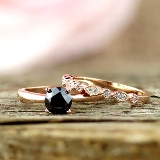 Auriya 1 1/6ctw Vintage Stackable Solitaire Black Diamond Engagement Ring Set 14K Gold