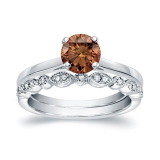 Auriya 14k Gold 3/4ct TDW Vintage-Inspired Brown Diamond Solitaire Engagement Ring Bridal Set