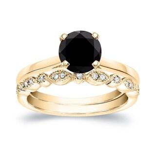 Auriya 14k Gold 7/8ct TDW Black Diamond Solitaire Engagement Ring Bridal Set