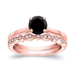 Auriya Vintage Stackable 3 4ctw Solitaire Black Diamond Engagement Ring Set 14K Gold