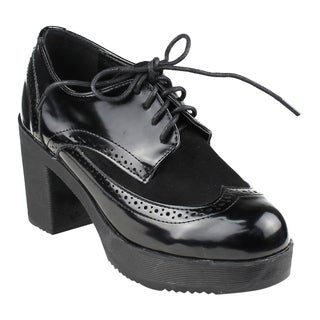 Beston EJ37 Women's Classic Fashion Lace Up Wing Tip Platform Chunky Heel Oxford