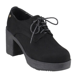 Beston EJ38 Women's Chasteness Studded Lace Up Lug Sole Platform Wedge Oxfords