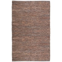 Hand-woven Chindi Brown Leather Rug - 5' x 8'