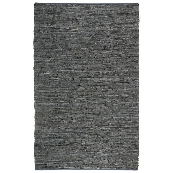 Hand-woven Chindi Black Leather Rug (5' x 8') - 5' x 8'