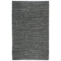 Hand-woven Chindi Black Leather Rug - 5' x 8'
